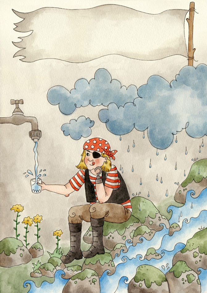 Vattenpiraten, illustration till Agenda 21 på Åland, 2012